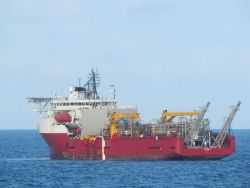 The oil field work vessel TOISA PISCES on-site at the Deepwater Horizon disaster well containment efforts. Photo