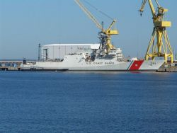 Coast Guard Cutter WAESCHE in a nearly finished state at the Northrop Grumman Shipyard in Pascagoula, Mississippi Photo
