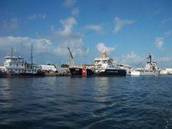 Coast Guard inland construction tender VISE, coastal buoy tender JOSHUA APPLEBY , and Coast Guard Cutter VENTUROUS. Photo