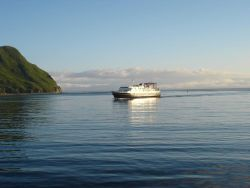 Alaska State Ferry M/V TUSTUMENA entering Dutch Harbor. Photo