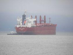 Bulk carrier NAVIOS SOLEIL anchored in the Columbia River near Astoria Photo