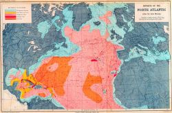 A bottom sediment map showing the density of deep sea soundings as well published by Sir John Murray of the CHALLENGER. Photo