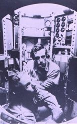 Lieutenant Don Walsh, USN, and Jacques Piccard in the bathyscaphe TRIESTE. Photo