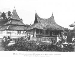 Mosque and dwellings in the Padang Highlands on the west coast of Sumatra Photo