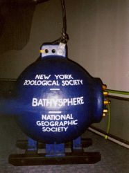 A full-size replica of William Beebe's bathysphere on display at Mystic Seaport Aquarium. Photo