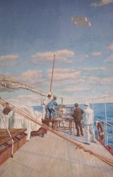 Painting of launch of meteorological kite from stern of Prince Albert's vessel