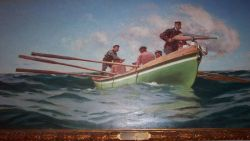 Painting of Prince Albert manning the harpoon cannon while attempting to obtain marine mammal for study Photo
