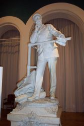 A marble statue of the likeness of Prince Albert of Monaco Photo