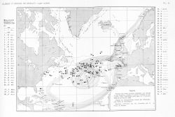 Positions of errant mines that broke away from moorings during the First World War and recovered in the North Atlantic between November 7, 1918, and F Photo