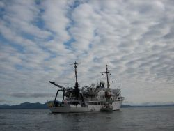 NOAA Ship FAIRWEATHER recovering launch in Behm Canal area. Photo