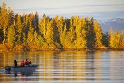 NOAA SHIP FAIRWEATHER work boat on its morning commute in quiet Alaskan waters. Photo