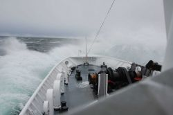NOAA Ship FAIRWEATHER headed south encountering some heavy weather. Photo