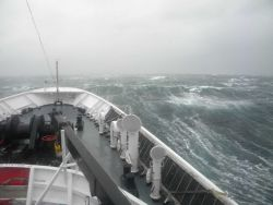 NOAA Ship FAIRWEATHER going with the flow in a Chatham Strait storm. Photo