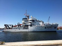 NOAA Ship REUBEN LASKER upon delivery at Pascagoula shipyard. Photo