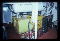 Cramped spaces in the engine room of the NOAA Ship TOWNSEND Photo