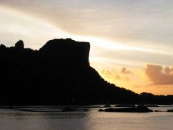 Paipalap peak (Sokehs Rock) rises 186 (610 feet) meters above the Pohnpei harbor Photo
