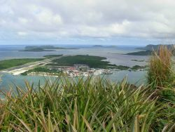 Looking to the east to the Kolonia airport and harbor from Pailapap. Photo