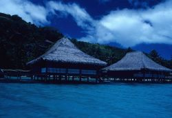 Hotel rooms in a tropical lagoon. Photo