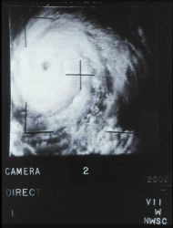 Early polar-orbiting satellite image of a tropical cyclone. Photo