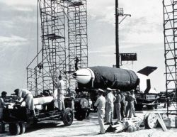 A V-2 missile on carrier being readied for launch - these missiles were used for early upper atmosphere studies. Photo
