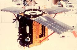 An ITOS satellite being readied for launch. Image
