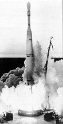 Launch of TIROS I by a Thor-Able rocket Photo