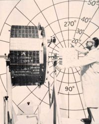 Calibrating the cameras on a TIROS satellite. Photo