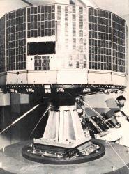 TIROS I satellite on test stand during preliminary test stage Photo