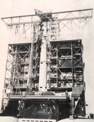 Second stage of Thor-Able rocket being set in place prior to launching TIROS I Photo