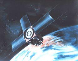 Graphic of TIROS-M or ITOS satellite in orbit. Photo