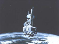 Graphic of NIMBUS satellite in orbit. Photo