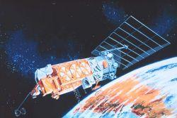 Graphic of TIROS-N satellite in orbit. Photo