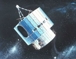 Graphic of early GOES satellite in orbit. Photo
