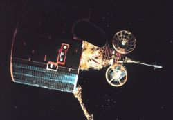 Graphic of 2nd generation GOES satellite in orbit. Photo