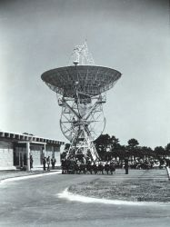 Dedication ceremony of the 85-foot (26-meter) parabolic antenna at the Wallops Island CDA. Photo