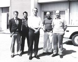 Wallops Island personnel including, left to right: Lloyd Chamberlain, Elwood Harte, Richard Kelly, Norbert Novocin, and Joseph Paranzino. Photo