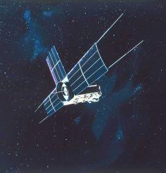 Graphic of ITOS satellite in orbit. Photo