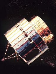 Graphic of the Synchronous Meteorological Satellite, the forerunner of the GOES satellites. Photo