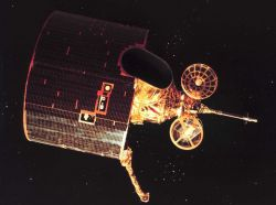 Artist's rendition of GOES D/E/F series of satellites in orbit. Photo