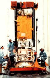Preparing a TIROS-N satellite for launch. Photo