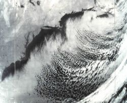 An infrared image transmitted from NOAA 2 satellite showing the East Coast of North America from the Gaspe Peninsula to northern Florida Image