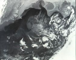 Gulf Stream is seen as darker water extending to northeast from Cape Hatteras Photo