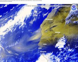Airborne dust streams off of Africa with a particularly heavy dust plume seen off Mauritania. Image