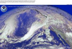 A plume of moisture associated with the jet stream hits the West Coast with winds up to 60 knots ( 69mph) Image