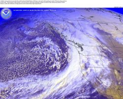 A large fall storm hits the Pacific Northwest with winds up to 55 knots. Image