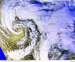 A powerful Pacific storm spreading rain, snow and heavy winds into the Pacific Northwest Image