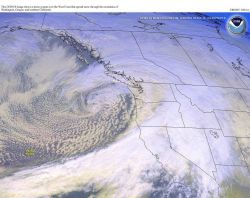 A Pacific Northwest storm spreading rain and snow over coastal regions from Washington to California Photo