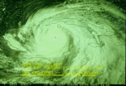 Hurricane Gilbert south of Cuba when at 885 mb (26.13 in.) low Photo