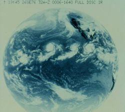 SMS-II full disc infrared image showing parade of tropical storms marching to the west across the eastern Pacific Ocean. Photo