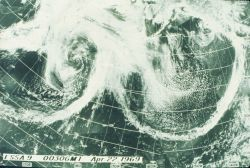 A remarkable image of two frontal systems converging south of the Aleutian Islands Image